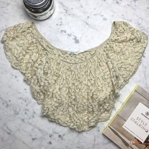 Urban Outfitters Kimchi Blue Creme Lace Crop Top